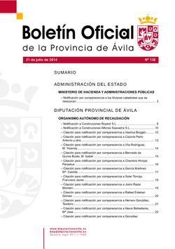 Boletín Oficial de la Provincia del lunes, 21 de julio de 2014