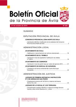 Boletín Oficial de la Provincia del martes, 21 de octubre de 2014