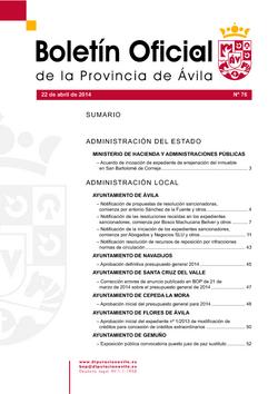 Boletín Oficial de la Provincia del martes, 22 de abril de 2014