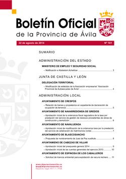 Boletín Oficial de la Provincia del viernes, 22 de agosto de 2014