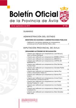 Boletín Oficial de la Provincia del lunes, 22 de septiembre de 2014