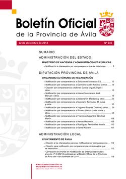 Boletín Oficial de la Provincia del lunes, 22 de diciembre de 2014