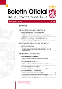 Boletín Oficial de la Provincia del jueves, 23 de octubre de 2014