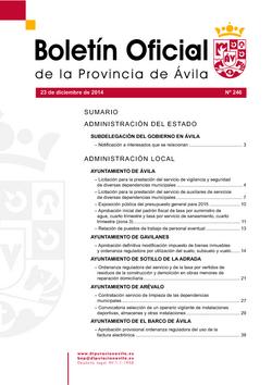 Boletín Oficial de la Provincia del martes, 23 de diciembre de 2014