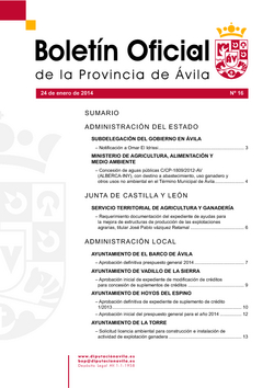 Boletín Oficial de la Provincia del viernes, 24 de enero de 2014
