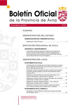 Boletín Oficial de la Provincia del lunes, 24 de febrero de 2014