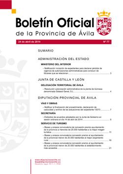 Boletín Oficial de la Provincia del jueves, 24 de abril de 2014