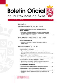 Boletín Oficial de la Provincia del lunes, 24 de noviembre de 2014