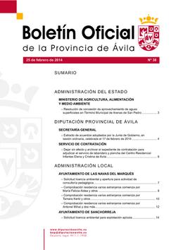 Boletín Oficial de la Provincia del martes, 25 de febrero de 2014