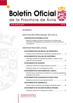 Boletín Oficial de la Provincia del viernes, 25 de abril de 2014