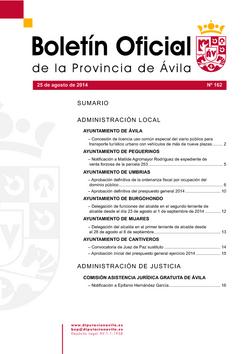 Boletín Oficial de la Provincia del lunes, 25 de agosto de 2014