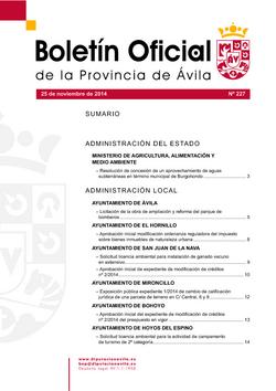 Boletín Oficial de la Provincia del martes, 25 de noviembre de 2014
