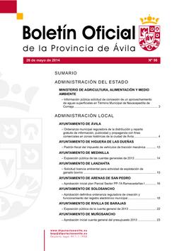 Boletín Oficial de la Provincia del lunes, 26 de mayo de 2014