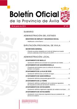 Boletín Oficial de la Provincia del jueves, 26 de junio de 2014