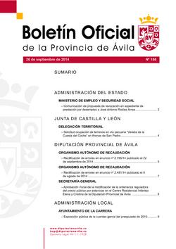Boletín Oficial de la Provincia del viernes, 26 de septiembre de 2014