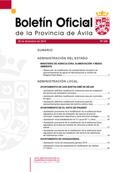 Boletín Oficial de la Provincia del viernes, 26 de diciembre de 2014