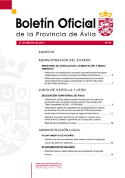 Boletín Oficial de la Provincia del jueves, 27 de febrero de 2014