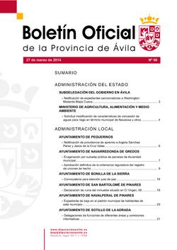Boletín Oficial de la Provincia del jueves, 27 de marzo de 2014