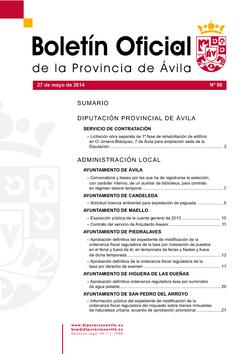 Boletín Oficial de la Provincia del martes, 27 de mayo de 2014