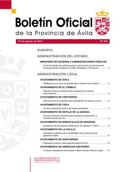 Boletín Oficial de la Provincia del miércoles, 27 de agosto de 2014