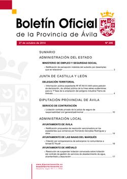 Boletín Oficial de la Provincia del lunes, 27 de octubre de 2014