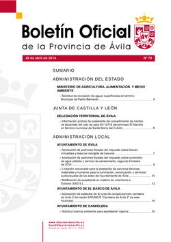 Boletín Oficial de la Provincia del lunes, 28 de abril de 2014