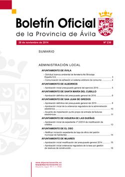 Boletín Oficial de la Provincia del viernes, 28 de noviembre de 2014