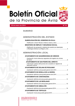 Boletín Oficial de la Provincia del miércoles, 29 de enero de 2014