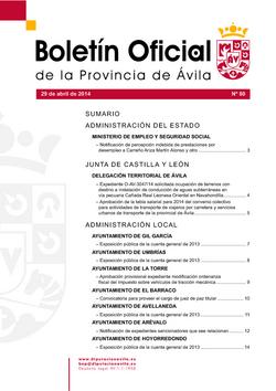 Boletín Oficial de la Provincia del martes, 29 de abril de 2014