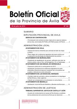 Boletín Oficial de la Provincia del martes, 29 de julio de 2014