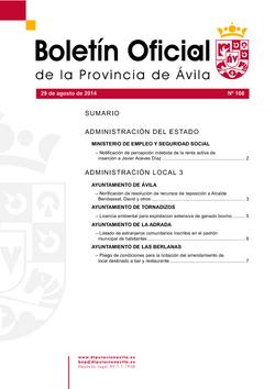 Boletín Oficial de la Provincia del viernes, 29 de agosto de 2014
