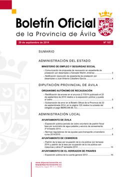 Boletín Oficial de la Provincia del lunes, 29 de septiembre de 2014