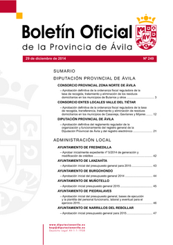 Boletín Oficial de la Provincia del lunes, 29 de diciembre de 2014