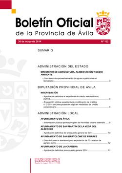 Boletín Oficial de la Provincia del viernes, 30 de mayo de 2014