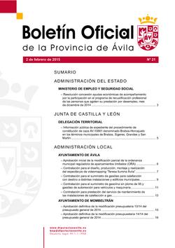 Boletín Oficial de la Provincia del lunes, 2 de febrero de 2015