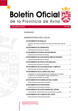 Boletín Oficial de la Provincia del jueves, 2 de julio de 2015