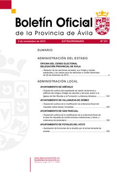 Boletín Oficial de la Provincia del lunes, 2 de noviembre de 2015