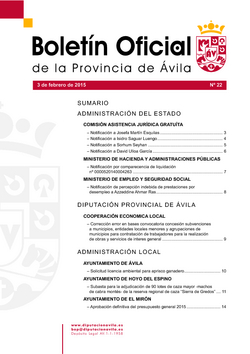 Boletín Oficial de la Provincia del martes, 3 de febrero de 2015