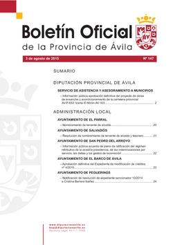 Boletín Oficial de la Provincia del lunes, 3 de agosto de 2015