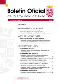 Boletín Oficial de la Provincia del jueves, 3 de diciembre de 2015