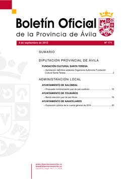 Boletín Oficial de la Provincia del viernes, 4 de septiembre de 2015