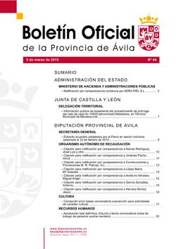 Boletín Oficial de la Provincia del jueves, 5 de marzo de 2015