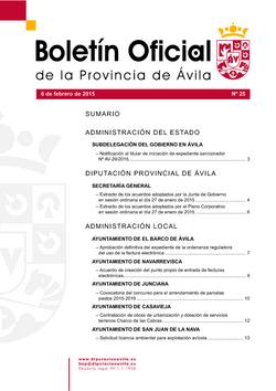 Boletín Oficial de la Provincia del lunes, 9 de febrero de 2015