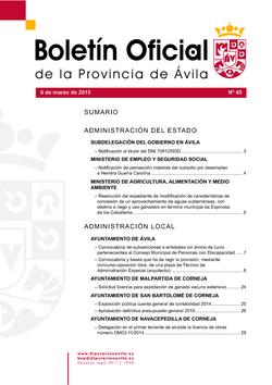 Boletín Oficial de la Provincia del viernes, 6 de marzo de 2015