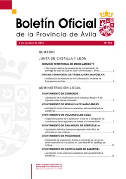 Boletín Oficial de la Provincia del martes, 6 de octubre de 2015