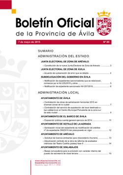 Boletín Oficial de la Provincia del jueves, 7 de mayo de 2015