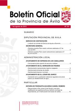 Boletín Oficial de la Provincia del viernes, 7 de agosto de 2015