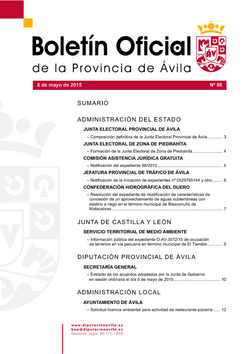 Boletín Oficial de la Provincia del viernes, 8 de mayo de 2015