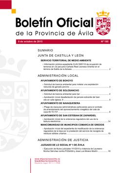Boletín Oficial de la Provincia del jueves, 8 de octubre de 2015