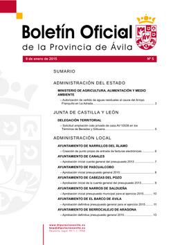 Boletín Oficial de la Provincia del viernes, 9 de enero de 2015